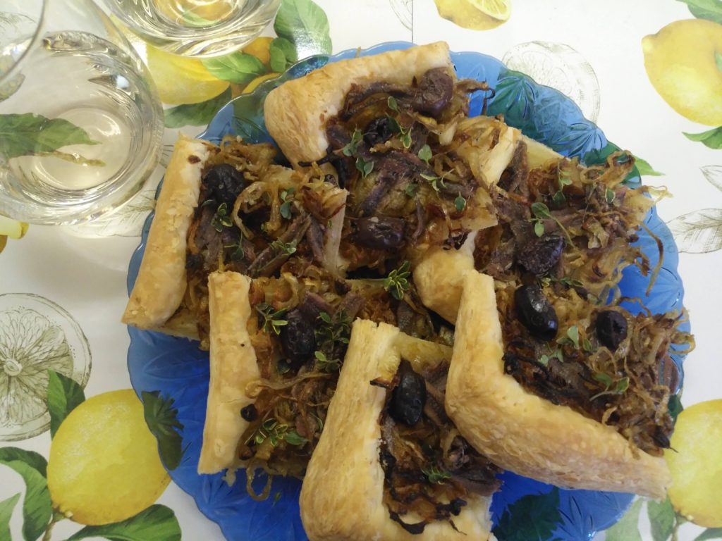 pissaladiére and rose