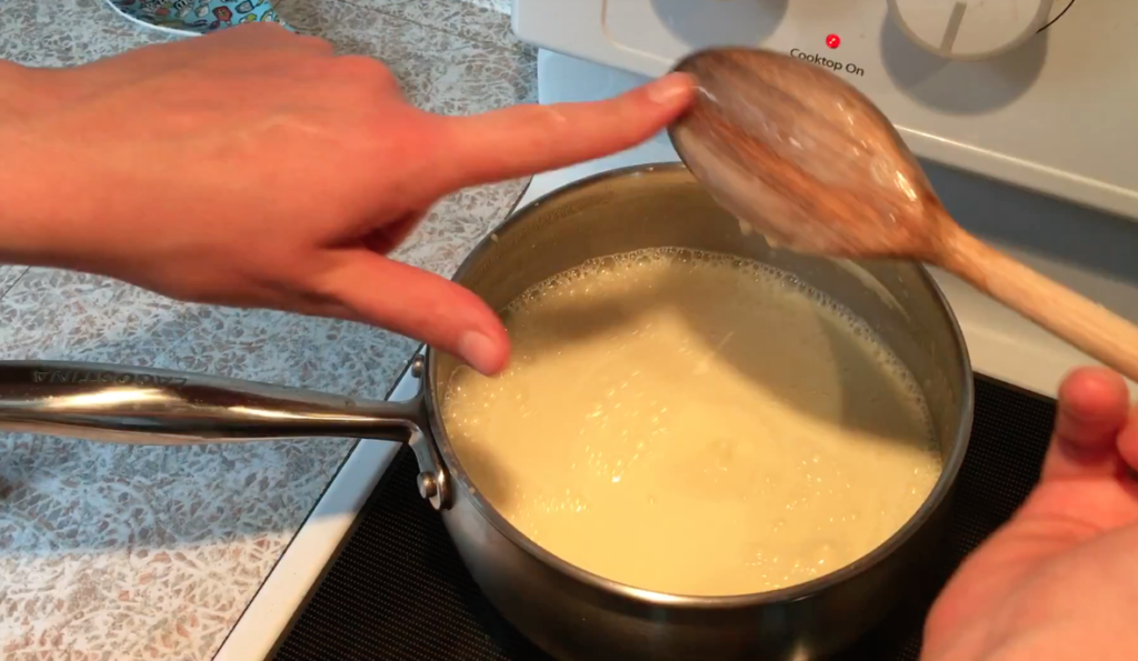 testing crème anglaise for doneness