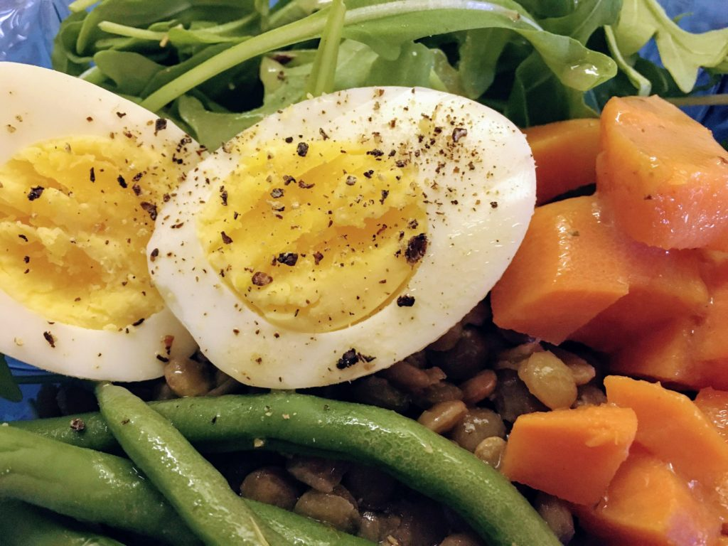 recipe with sweet potatoes, lentils, green beans, eggs and barley