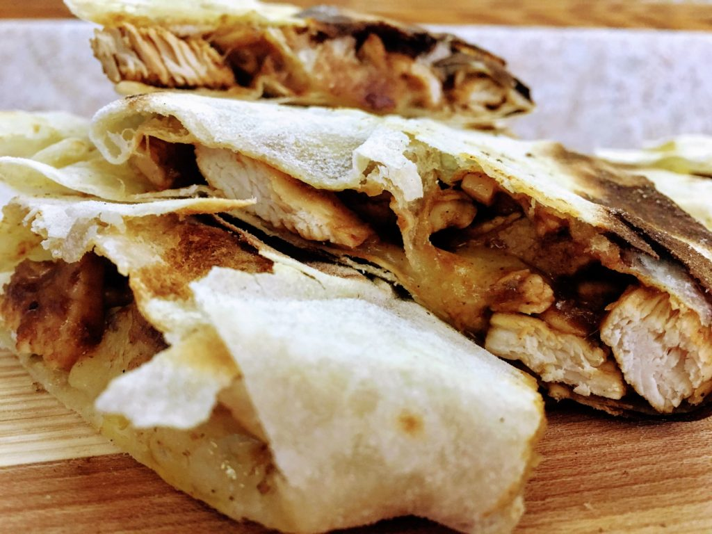 cast iron tequila lime quesadilals