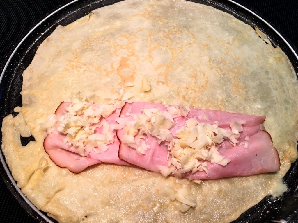 ham and cheese in a crepe