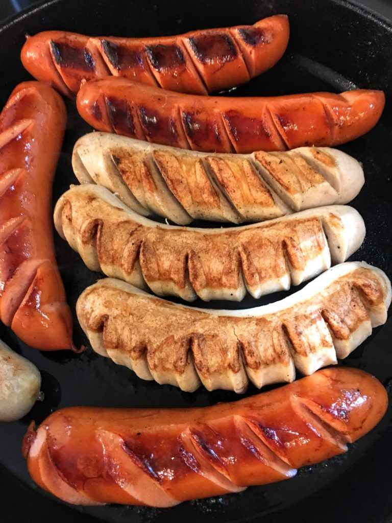 cooked sausages for German currywurst