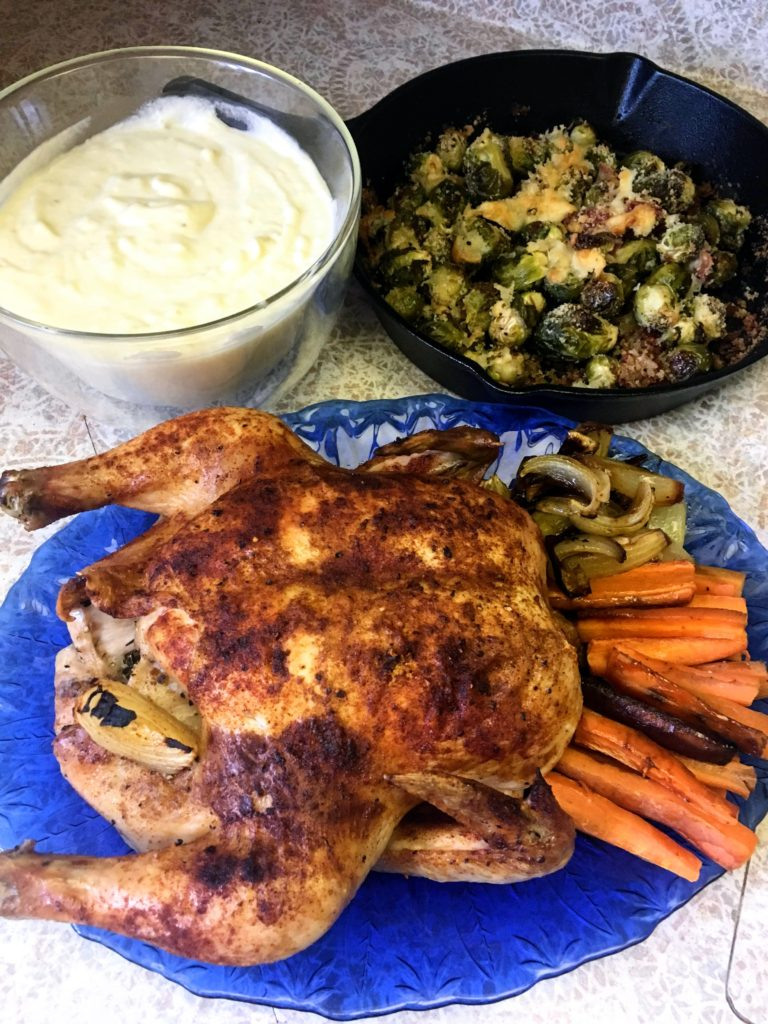 paprika roast chicken with celery root puree and brussels sprouts