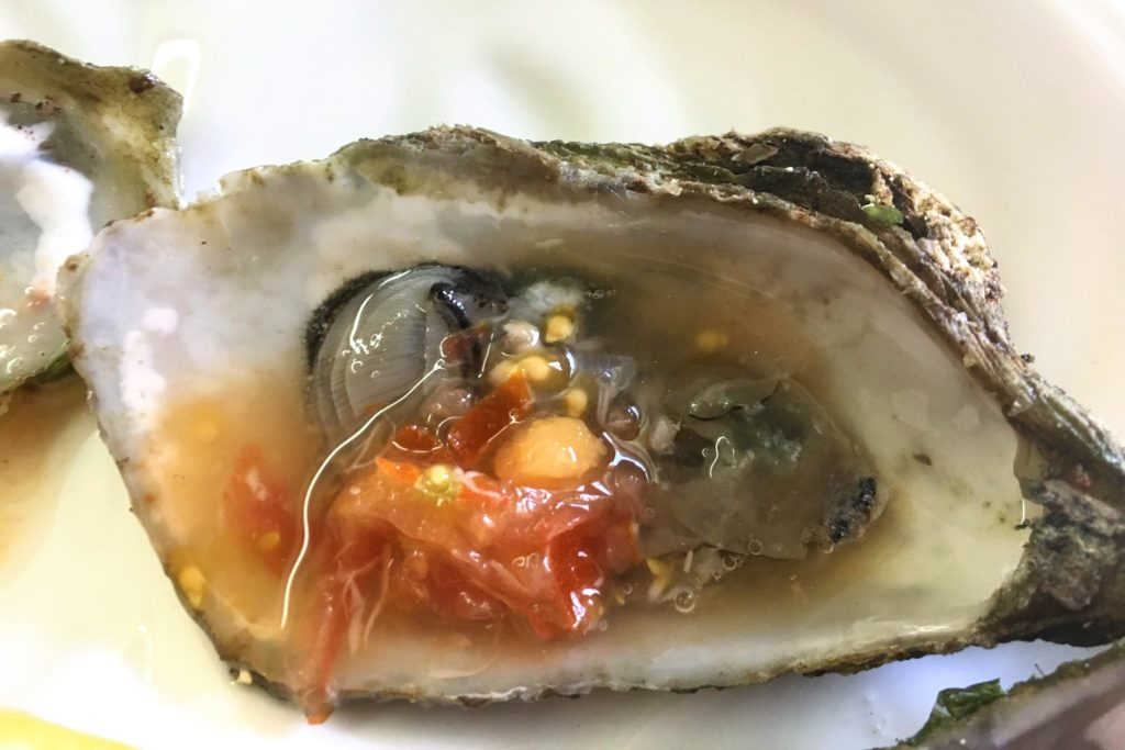 oyster with bloody mary mignonette
