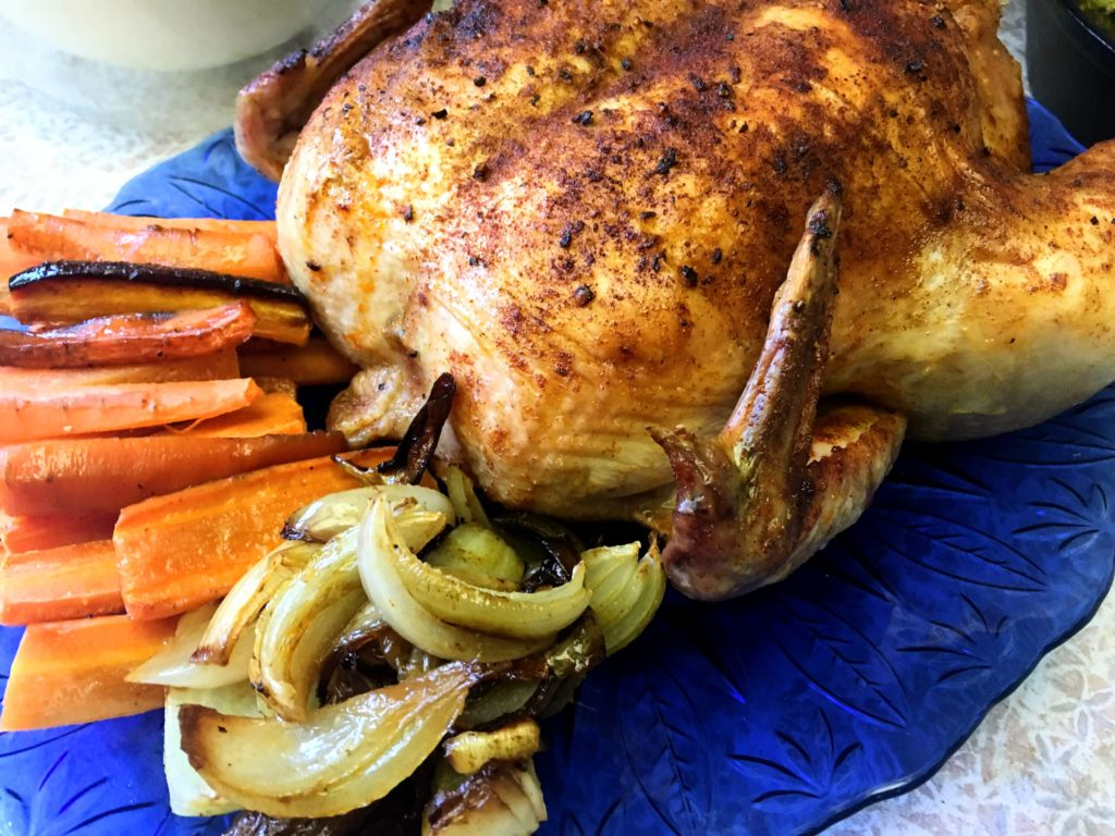 paprika roast chicken with carrots and onions
