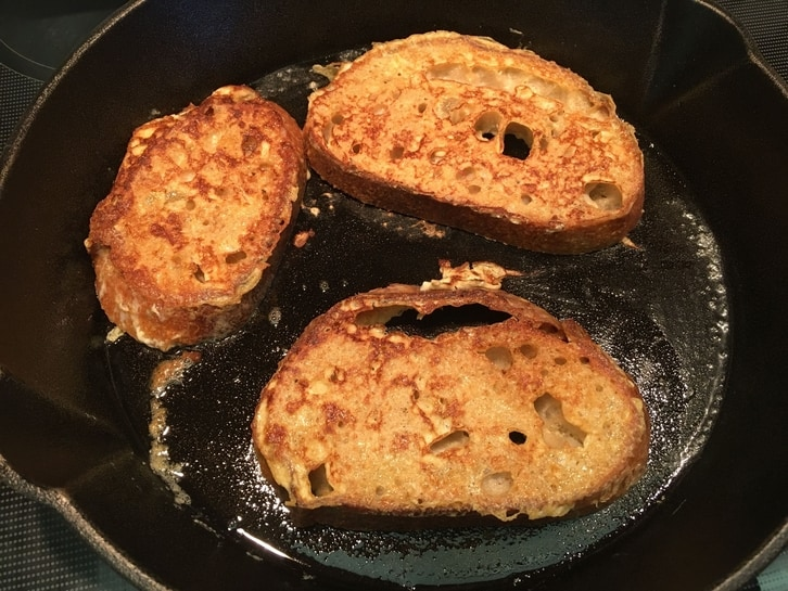golden brown french toast in a skillet