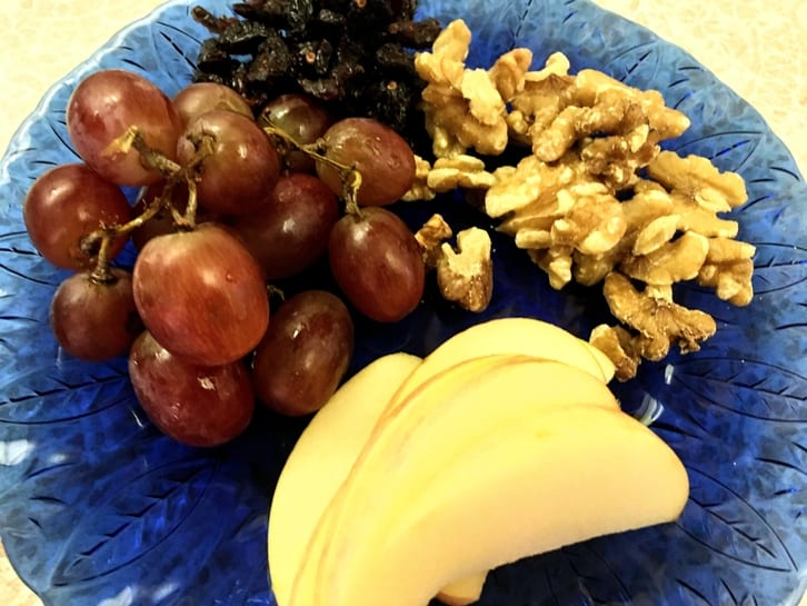 plate of fruit and nuts