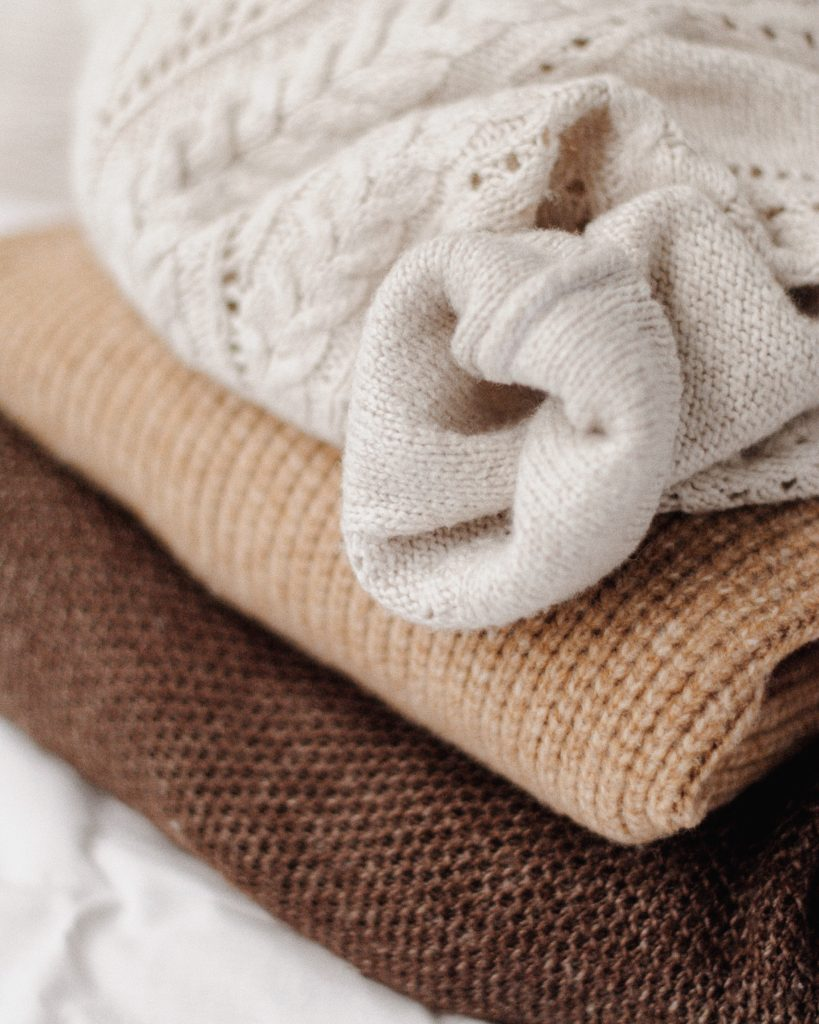 sweaters and blankets