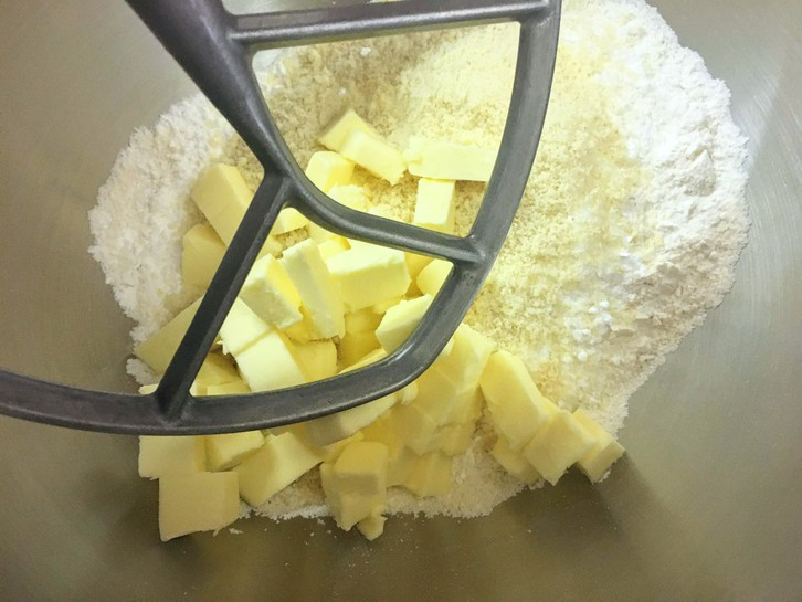 about to mix pâte sucrée in a stand mixer