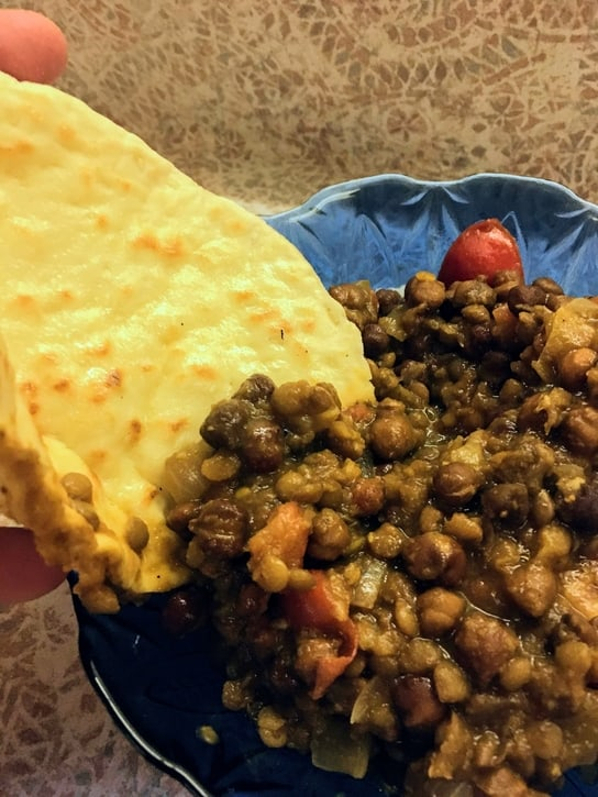 naan with a bowl of curry