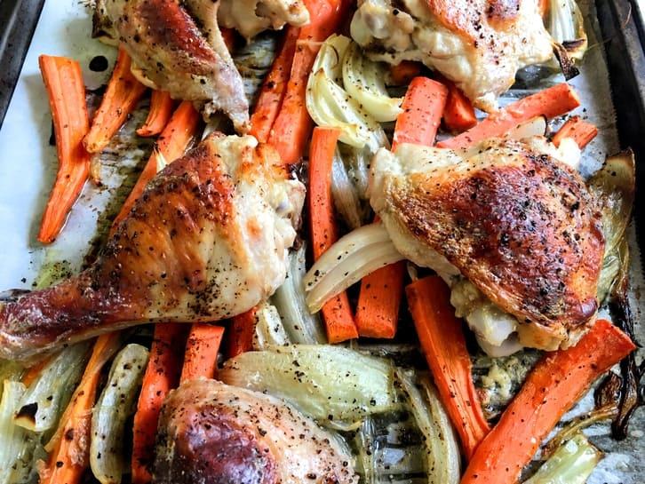 kefir-brined chicken sheet pan dinner