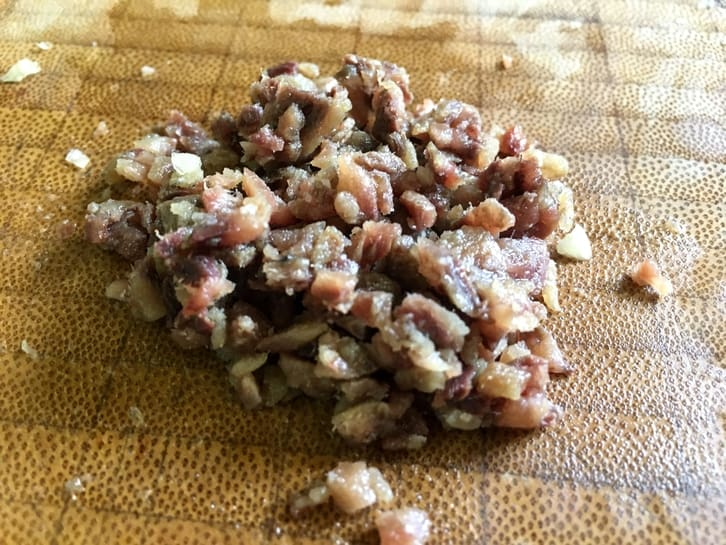 Minced anchovies for pan-fried chicken caesar salad dressing