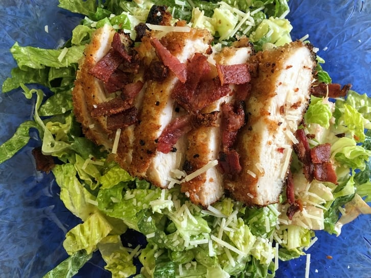 pan-fried chicken caesar salad