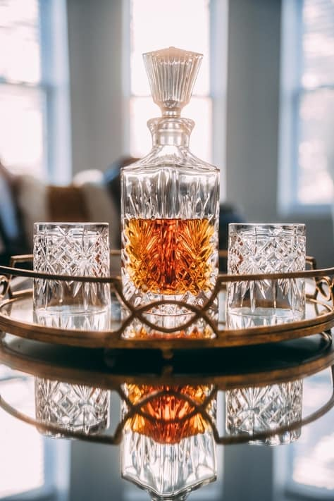 decanter of whisky in the liquor cabinet