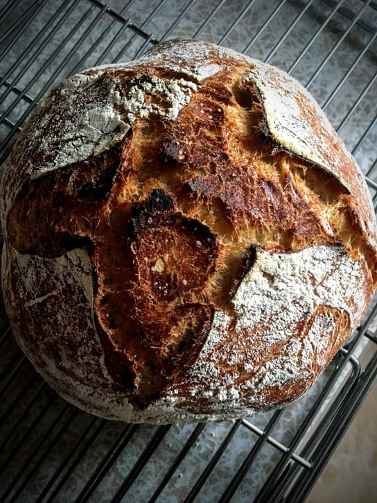 loaf of old-fashioned sourdough bread
