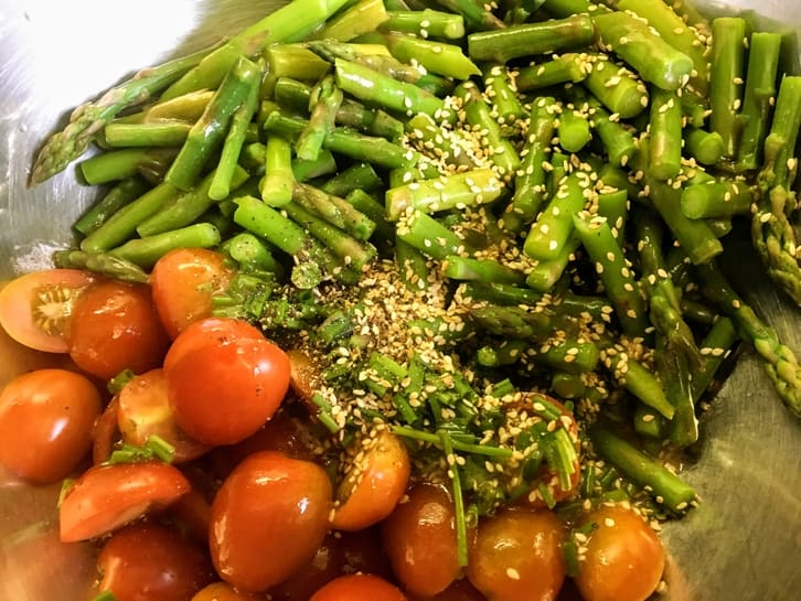 ingredients for asparagus and cherry tomato salad