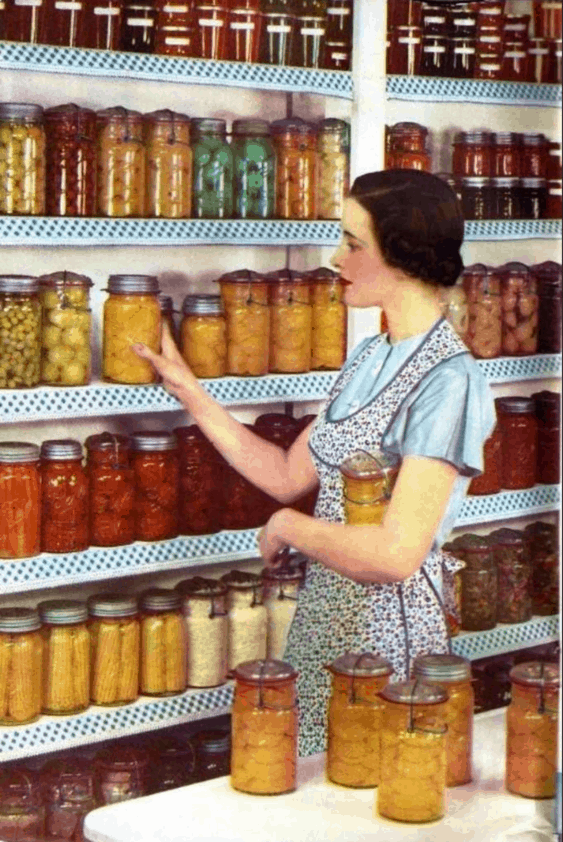 vintage photo of a woman in her larder