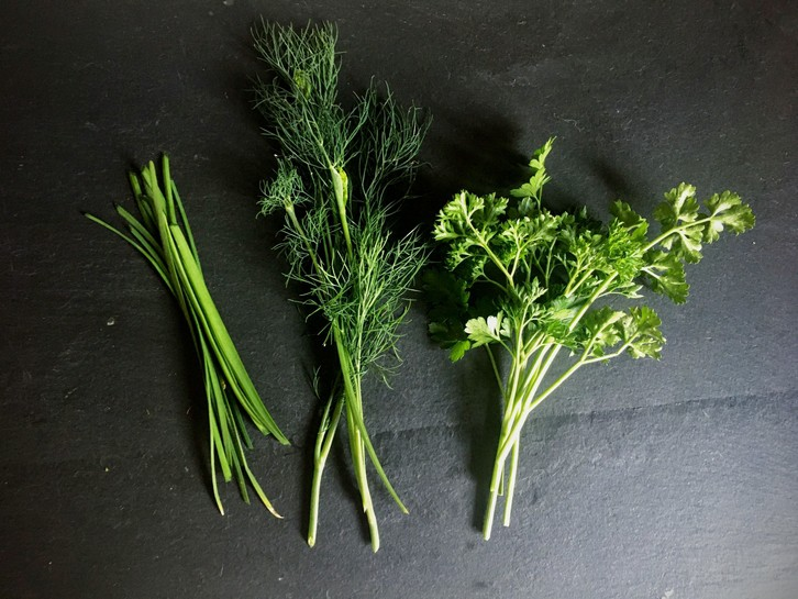 fresh chives, dill and parsley