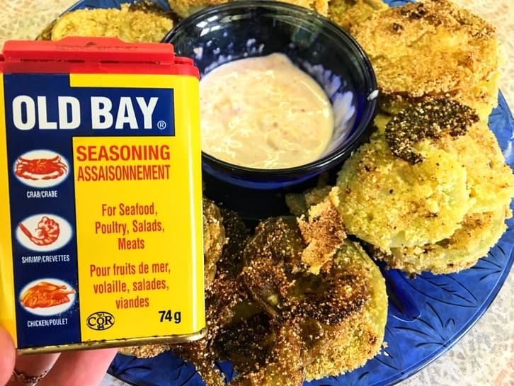 pickled fried green tomatoes with old bay cornmeal