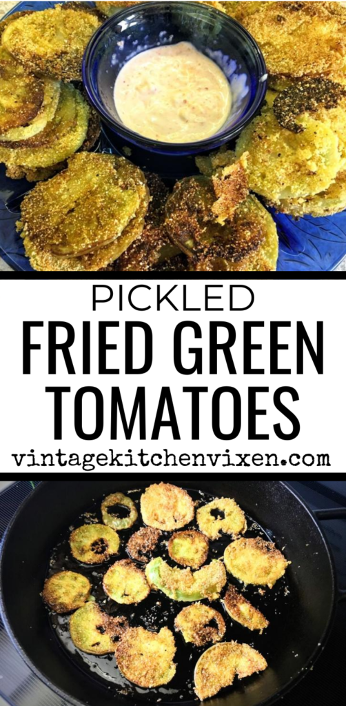 pickled fried green tomatoes Pinterest image