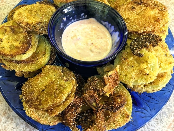 pickled fried green tomatoes with sriracha mayo dip